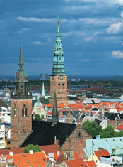 Copenhagen, the church tower of Vor Frelsers