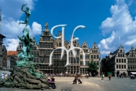 ANTWERP, the main square and the Brabo fountain